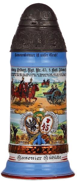 Regimental stein, .5L, 10.0'' ht., porcelain, 5. Batt., Feld Artl. Regt. Nr. 45, Altona-Bahrenfeld, 1906 - 1908, four side scenes, roster, screw-fuse lid, St. Barbara thumblift, named to: Kanonier Kühlake, mint
