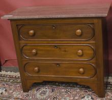 Three drawer marble top dresser