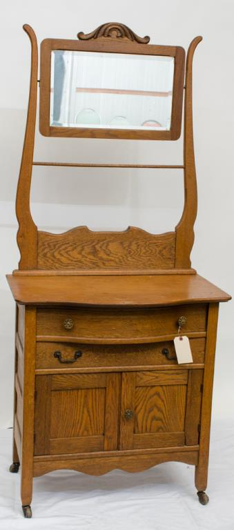 Oak two drawer two door Washstand w/ mirror and
