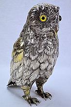 German Sterling Silver Gilt Owl