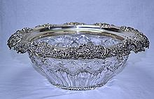 Redlich Sterling Silver Cut Glass Punch Bowl