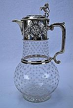 English Sterling Mounted & Etched Crystal Wine 1868