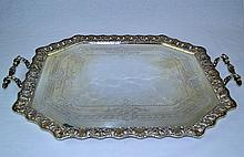 West & Sons Irish Sterling SIlver Waiter Tray 1894