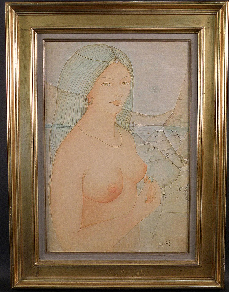 Serge Carre (1929-?) signed painting, Nude woman