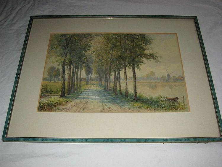 WATERCOLOUR 'A DUTCH ROAD' MARY BANESS APPROX. 17