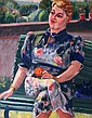 Renee Honta', Lady on a Green Bench with a Cat