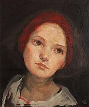 Ken Hamilton  Girl With Red Headband  Oil on Board