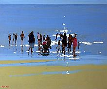 John Morris  Ballybunion Beach Scene  Oil on Board