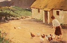George Gillespie Feeding the Chickens Oil on Board