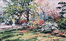 Cora Harrington Malone House Garden Spring Oil on