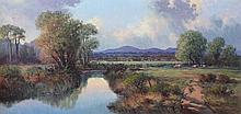 William Cunningham Cattle Grazing By A River Oil