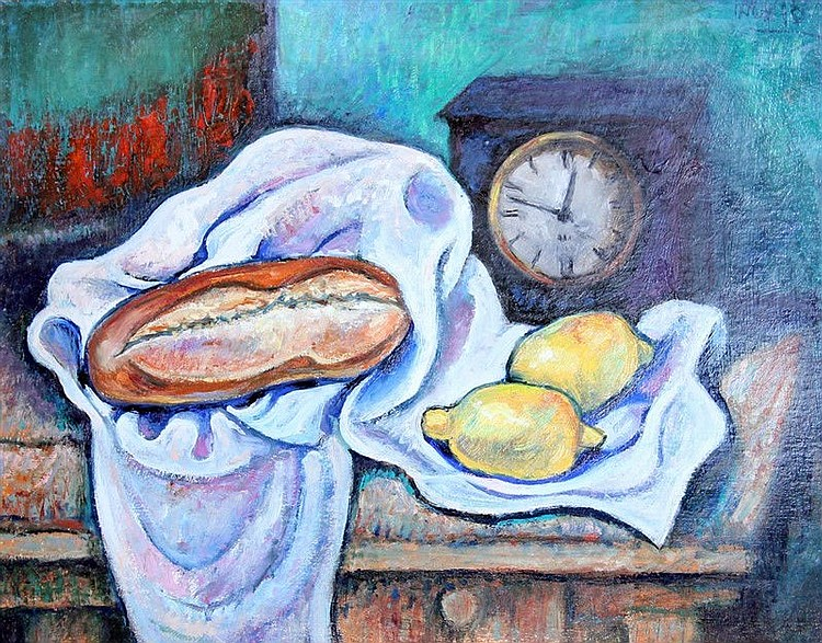 Serg Ixygon - Still Life With Bread And Clock
