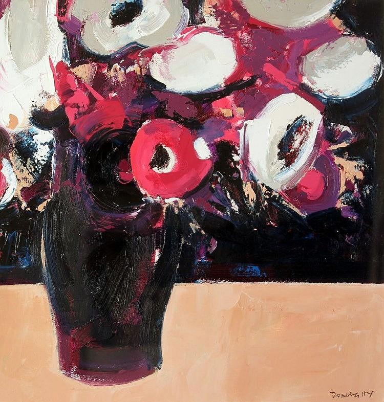 Paul Donaghy Purple Floral in Dark Vase