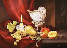Gyula Boros - Still Life Candle And Grapes