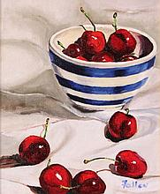 M Fallon - Still Life with Cherries and Striped Bowl