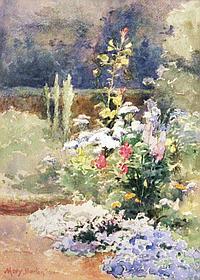 """Mary G Barton The Flower Garden Watercolour 14"""" x"""