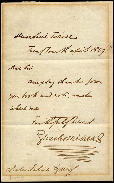 Charles Dickens Handwritten & Signed Letter