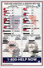 2005 Boston Red Sox Game Used Dugout Line-Up Card