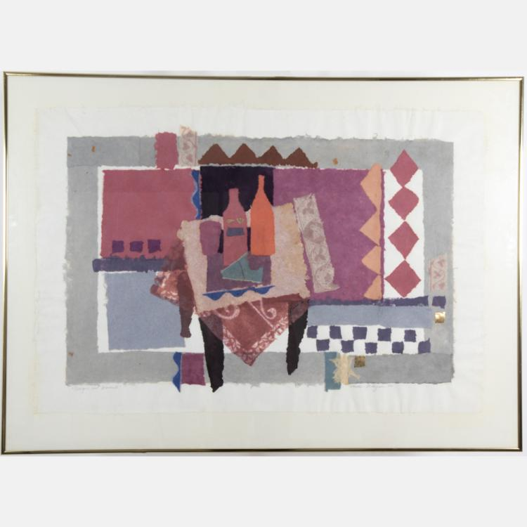 Donna Hollen-Bolmgren (b. 1935) Braque and Morandi, Handmade, hand-dyed paper,
