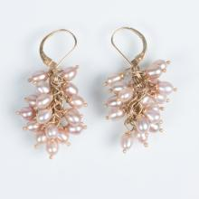 A Pair of 14kt. Yellow Gold and Pearl Earrings,