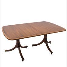 A Kittinger Georgian Style Mahogany Veneer Double Pedestal Dining Table, 20th Century,