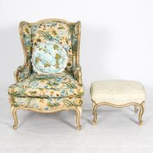 A Louis XV Style Quilt Chintz Upholstered Wing Back Armchair with Ottoman, 20th Century,