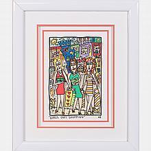 James Rizzi (1950-2011) Girls Out Shopping, Hand-cut silkscreen with 3D construction,