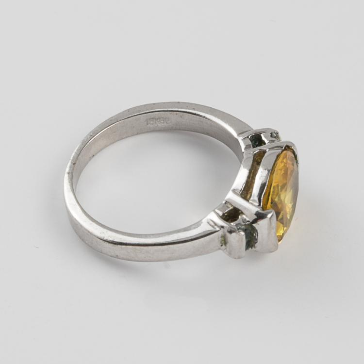 an 18kt white gold plated and citrine ring