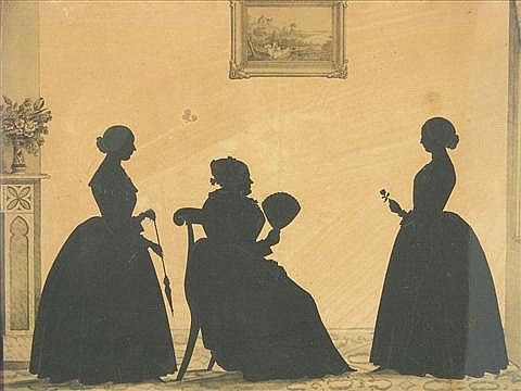 Attributed to William Henry Brown (American, 1808-1883) Silhouette of Mrs. Mary Moore and Aunts.