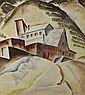 Virginia True (American, 1900-1989) Modernist Town, Watercolor,, Virginia True, Click for value