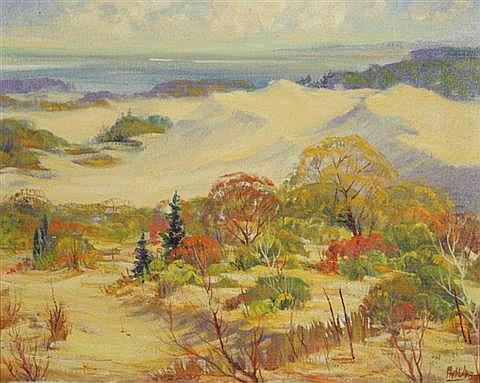 Frank Richard Myslive (American, 1908-1986) Dunes, So. Eastern Michigan, Oil on canvas artist board,