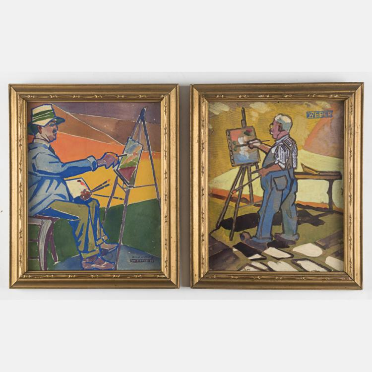 A. James Weber (1888-1958) Two Portraits of Artists Painting, Watercolor gouache,