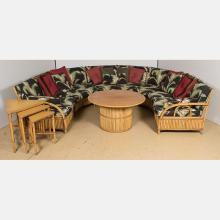 A Vintage Ficks and Reed Co. Rattan Upholstered Suite, 20th Century,