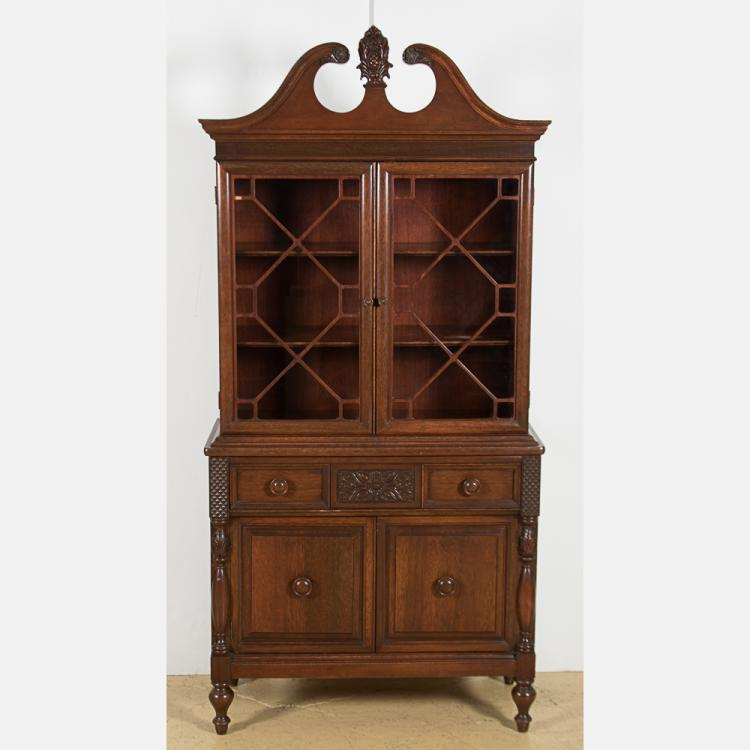 A Finch Fine Furniture Carved Mahogany And Glass Cabinet, 20