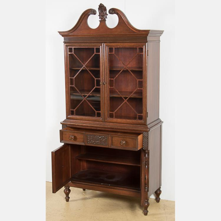 Elegant Furniture: A Finch Fine Furniture Carved Mahogany And Glass Cabinet, 20