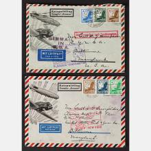Two Catapult 1935 German Covers with Varying Hand Stamps.