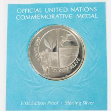 A Collection of Untied Nations Medallic First Day Covers,