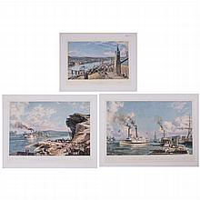 John Stobart (b. 1929) A Collection of Three Works Depicting Steamboats, Colored lithographs,
