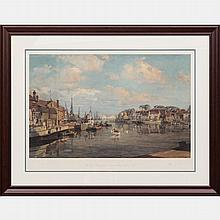John Stobart (b. 1929) Weymouth Harbour, Lithograph,