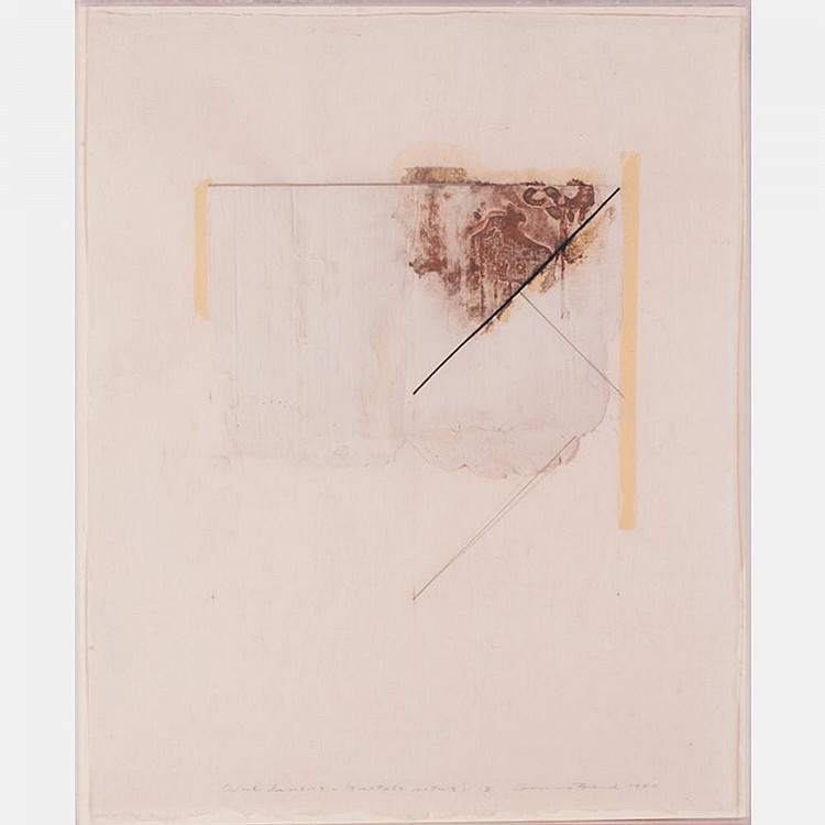 Ginna Brand (b. 1929) One Liners (Tactile Notes) 3, 1980, Plaster collage on paper,