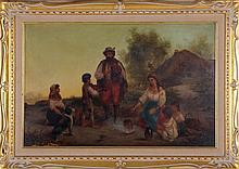 Hungarian School, (19th Century) Gypsy Family, Oil on board,