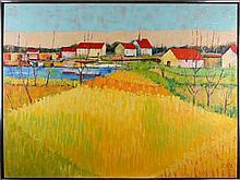 Crosby (20th Century) Harbor Village, Oil on canvas,