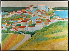 Crosby (20th Century) Hillside Village, Oil on canvas,