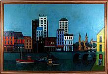 Herbert Mears (1923-1999) Harbor Scene, Oil on canvas,