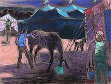 Joseph Benjamin O'Sickey (1918-2013) Circus Scene, Feeding the Horses, Pastel on paper,