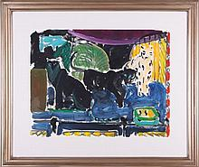 Joseph Benjamin O'Sickey (1918-2013) Panthers and Leopard, Watercolor on paper,
