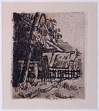 Paul Cézanne (1839-1906) Paysage a Auvers, Restrike etching.