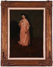 George Benjamin Luks (1867-1933) Woman in Pink Robe, Oil on canvas,