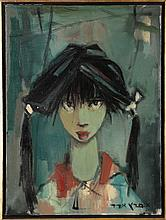 Esther Peretz-Arad (1921-2005) Girl with Scowl, Oil on canvas,