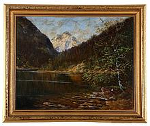 George Majewicz (1897-1965) River Landscape with Mountain, Oil on canvas,